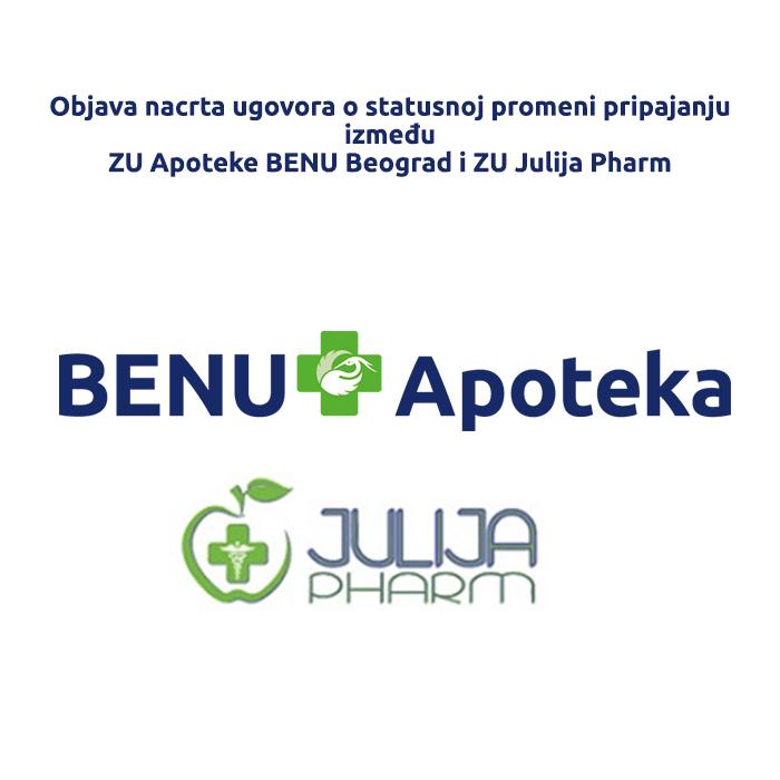 Objava nacrta ugovora ZU Apoteka BENU i ZU Julija